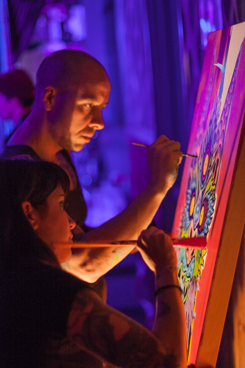 Chuck Bennet and Nicole Salgar live painting